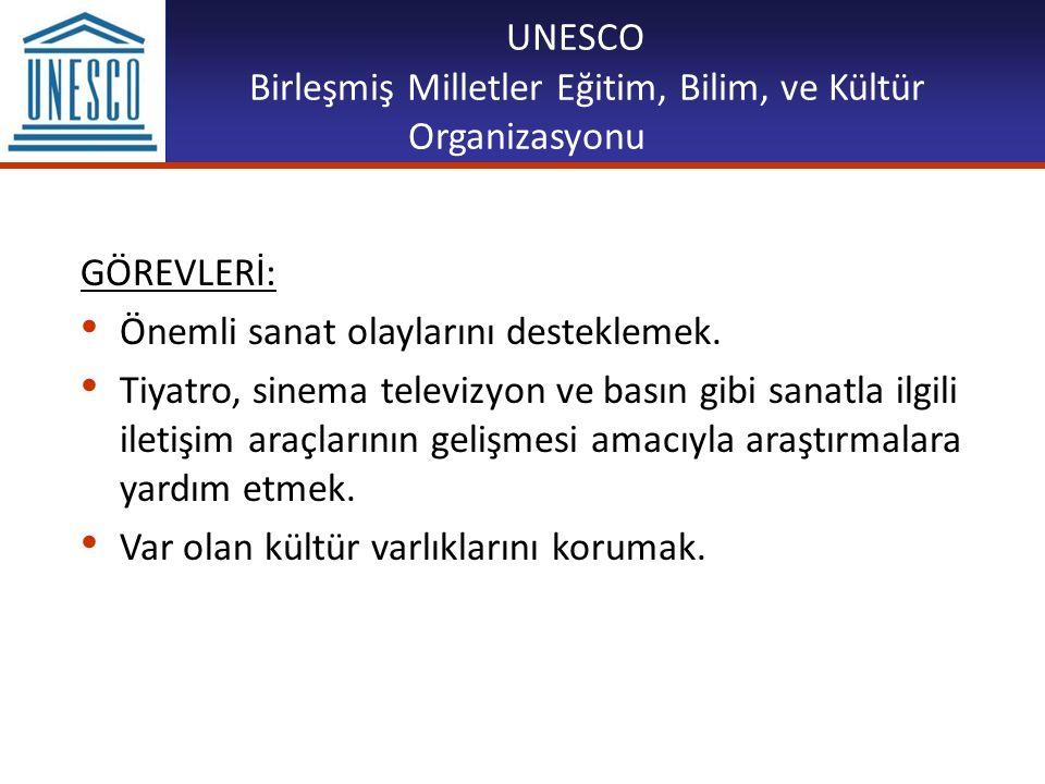 UNESCO Birleşmiş Milletler Eğitim, Bilim, ve Kültür Organizasyonu GÖREVLERİ: Önemli sanat olaylarını desteklemek. Tiyatro, sinema televizyon ve basın