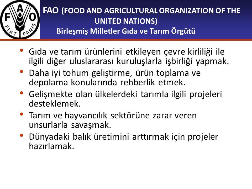 FAO (FOOD AND AGRICULTURAL ORGANIZATION OF THE UNITED NATIONS) Birleşmiş Milletler Gıda ve Tarım Örgütü Gıda ve tarım ürünlerini etkileyen çevre kirli