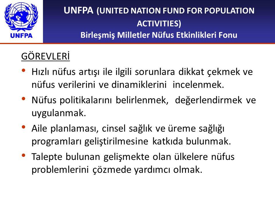 UNFPA (UNITED NATION FUND FOR POPULATION ACTIVITIES) Birleşmiş Milletler Nüfus Etkinlikleri Fonu GÖREVLERİ Hızlı nüfus artışı ile ilgili sorunlara dik