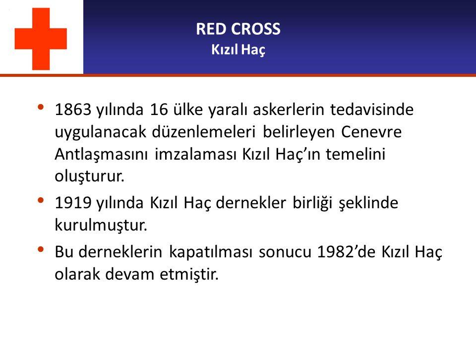 RED CROSS Kızıl Haç 1863 yılında 16 ülke yaralı askerlerin tedavisinde uygulanacak düzenlemeleri belirleyen Cenevre Antlaşmasını imzalaması Kızıl Haç'