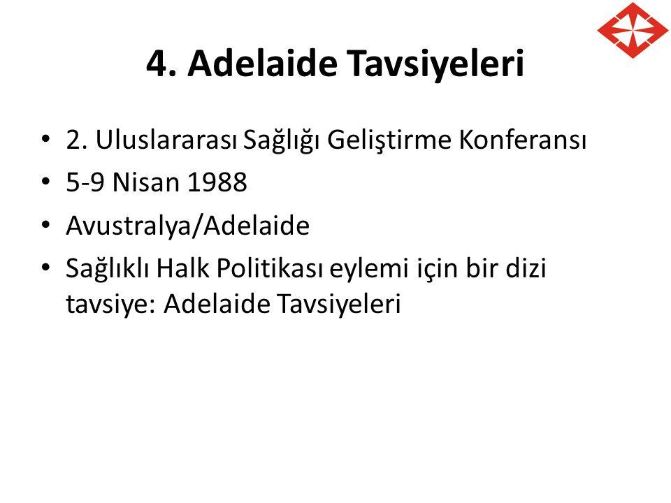 4. Adelaide Tavsiyeleri 2. Uluslararası Sağlığı Geliştirme Konferansı 5-9 Nisan 1988 Avustralya/Adelaide Sağlıklı Halk Politikası eylemi için bir dizi