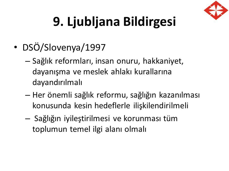 9. Ljubljana Bildirgesi DSÖ/Slovenya/1997 – Sağlık reformları, insan onuru, hakkaniyet, dayanışma ve meslek ahlakı kurallarına dayandırılmalı – Her ön