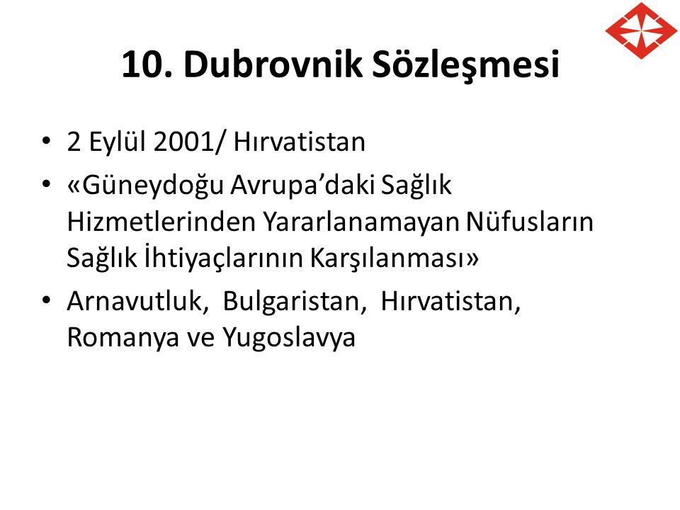 10. Dubrovnik Sözleşmesi 2 Eylül 2001/ Hırvatistan «Güneydoğu Avrupa'daki Sağlık Hizmetlerinden Yararlanamayan Nüfusların Sağlık İhtiyaçlarının Karşıl