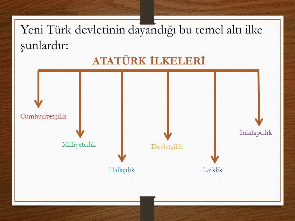 Yeni Türk devletinin dayandığı bu temel altı ilke şunlardır: Cumhuriyetçilik Milliyetçilik Halkçılık Devletçilik Laiklik İnkılapçılık ATATÜRK İLKELERİ