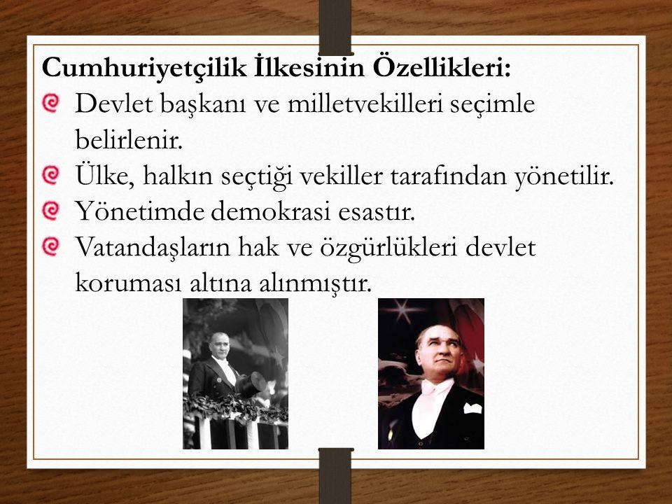 Cumhuriyetçilik İlkesiyle İlgili Yenilikler: TBMM'nin açılması Saltanatın kaldırılması Türkiye Cumhuriyeti'nin ilan edilmesi Birden fazla siyasi partinin kurulması Çok partili seçim yapılmaya başlanması Kadınlara seçme ve seçilme hakkının verilmesi Türkiye Cumhuriyeti Anayasası'nın hazırlanması