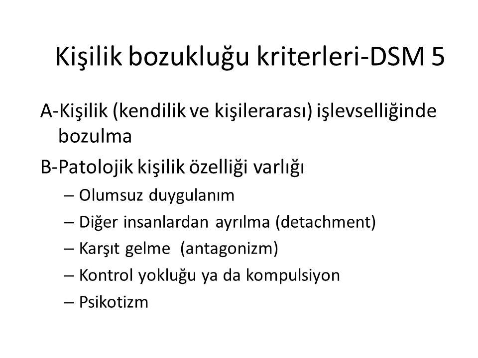 Kişilik bozukluğu kriterleri-DSM 5 A-Kişilik (kendilik ve kişilerarası) işlevselliğinde bozulma B-Patolojik kişilik özelliği varlığı – Olumsuz duygula