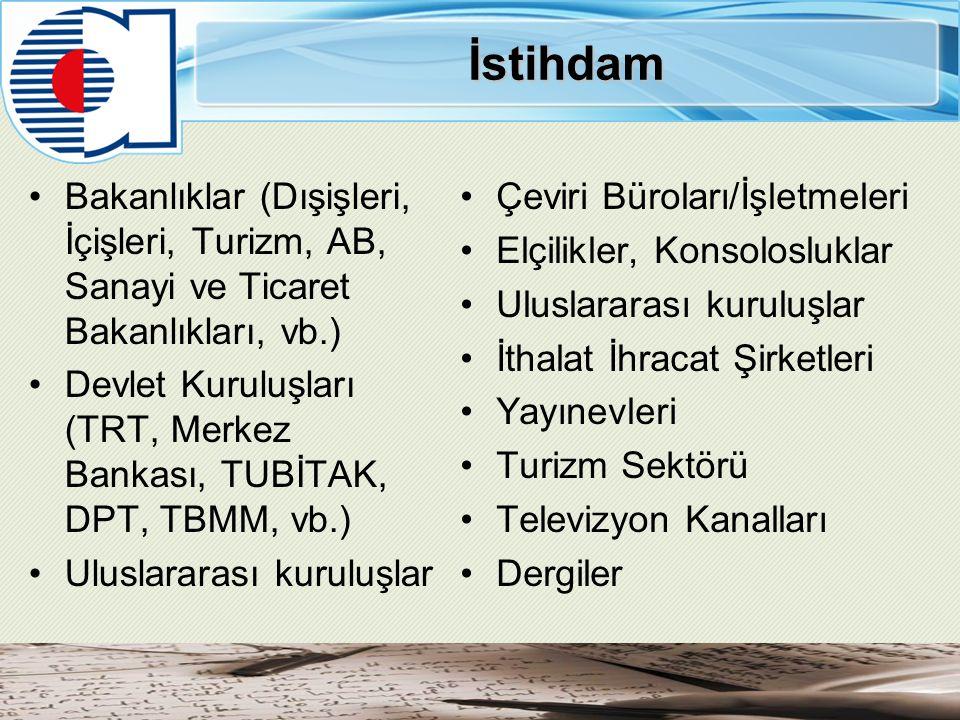 İstihdam Bakanlıklar (Dışişleri, İçişleri, Turizm, AB, Sanayi ve Ticaret Bakanlıkları, vb.) Devlet Kuruluşları (TRT, Merkez Bankası, TUBİTAK, DPT, TBMM, vb.) Uluslararası kuruluşlar Çeviri Büroları/İşletmeleri Elçilikler, Konsolosluklar Uluslararası kuruluşlar İthalat İhracat Şirketleri Yayınevleri Turizm Sektörü Televizyon Kanalları Dergiler