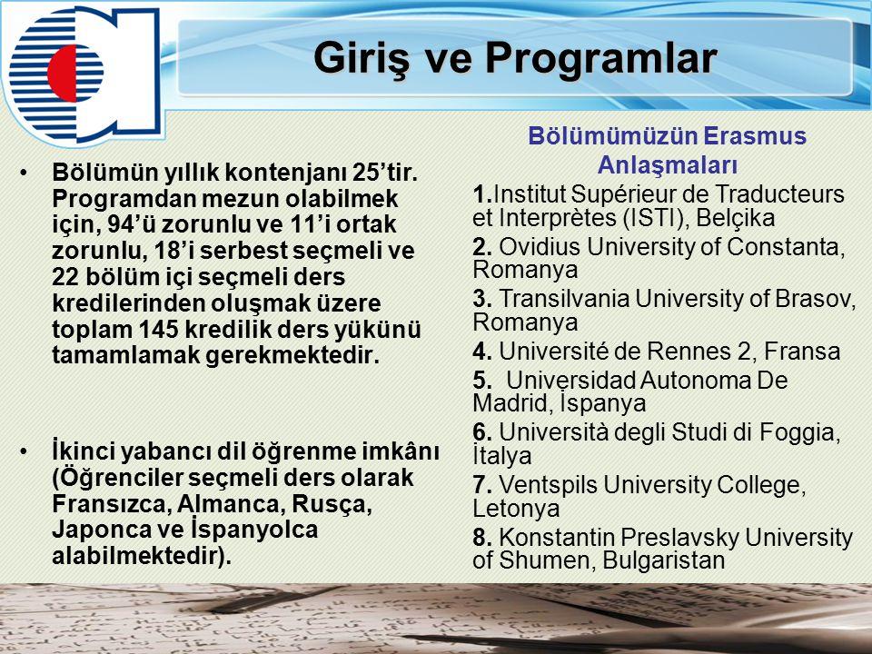 Giriş ve Programlar Bölümün yıllık kontenjanı 25'tir.