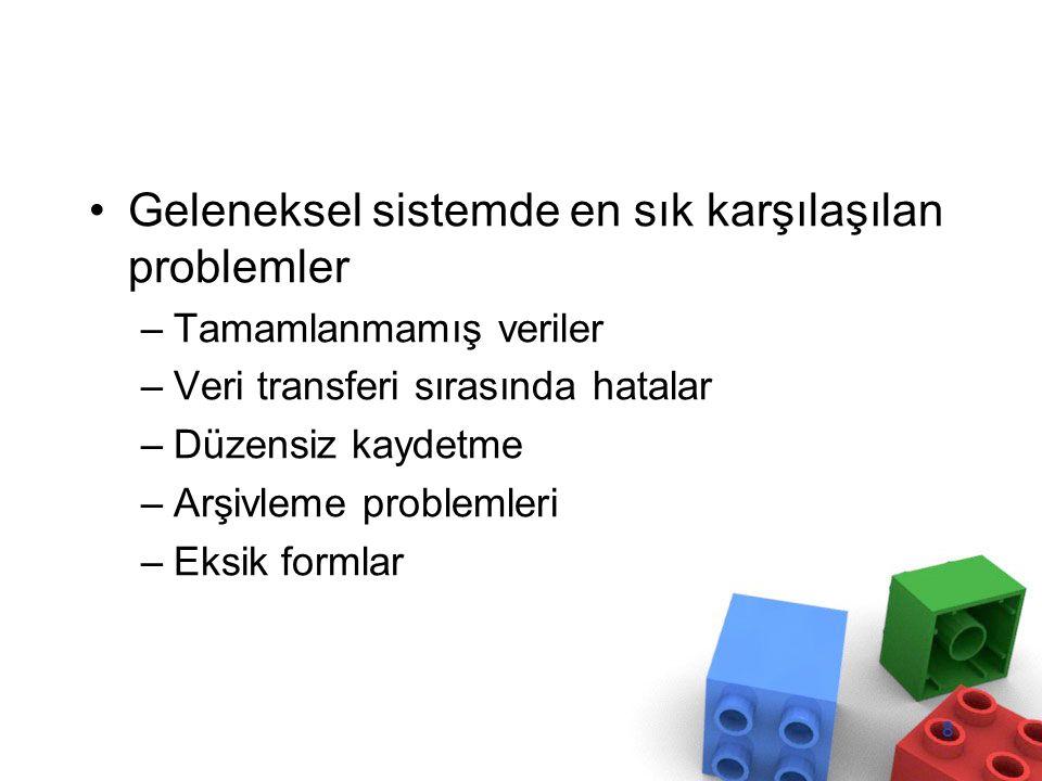 Geleneksel sistemde en sık karşılaşılan problemler –Tamamlanmamış veriler –Veri transferi sırasında hatalar –Düzensiz kaydetme –Arşivleme problemleri –Eksik formlar 8