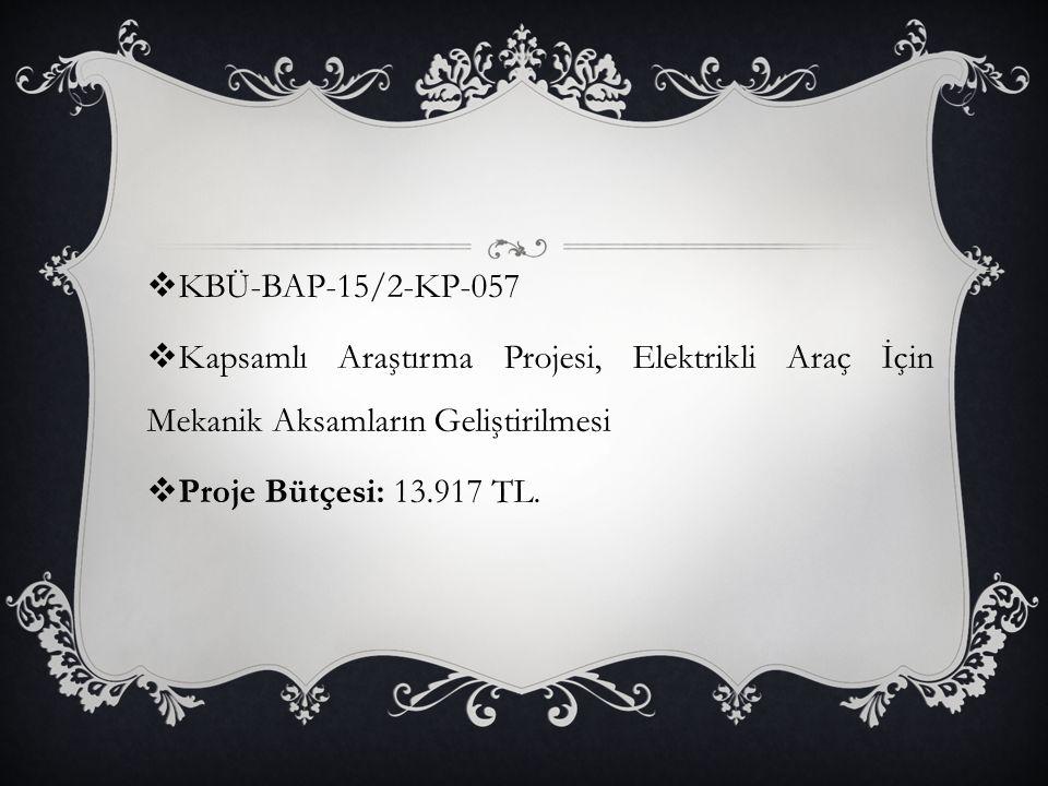  KBÜ-BAP-15/2-KP-057  Kapsamlı Araştırma Projesi, Elektrikli Araç İçin Mekanik Aksamların Geliştirilmesi  Proje Bütçesi: 13.917 TL.