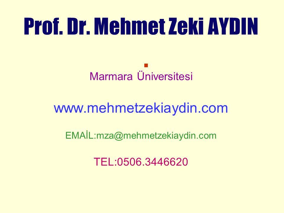 . Prof. Dr. Mehmet Zeki AYDIN Marmara Üniversitesi www.mehmetzekiaydin.com EMAİL:mza@mehmetzekiaydin.com TEL:0506.3446620