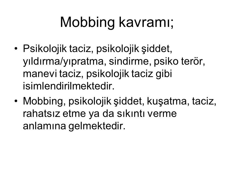 Mobbing kavramı; Psikolojik taciz, psikolojik şiddet, yıldırma/yıpratma, sindirme, psiko terör, manevi taciz, psikolojik taciz gibi isimlendirilmekted