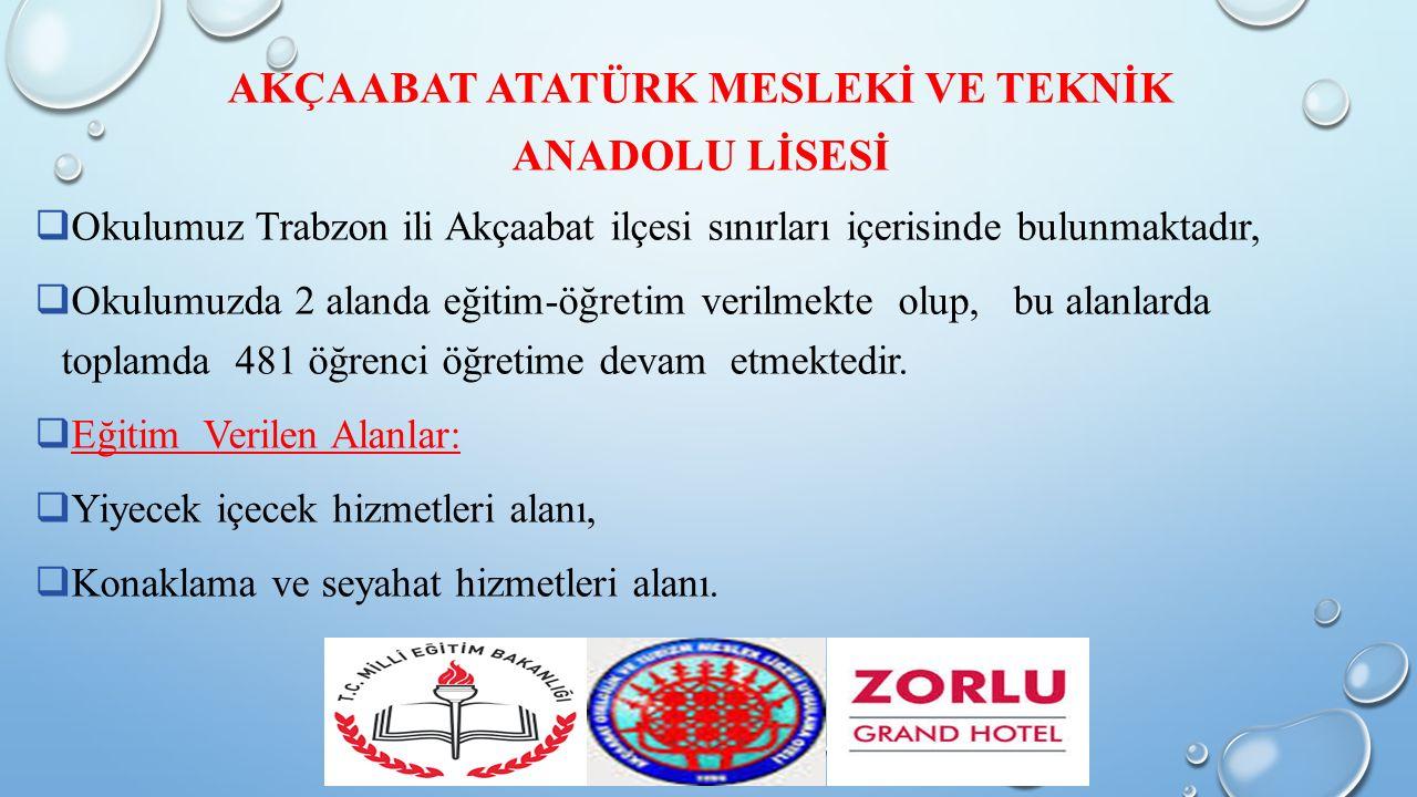 AKÇAABAT ATATÜRK MESLEKİ VE TEKNİK ANADOLU LİSESİ  Okulumuz Trabzon ili Akçaabat ilçesi sınırları içerisinde bulunmaktadır,  Okulumuzda 2 alanda eğitim-öğretim verilmekte olup, bu alanlarda toplamda 481 öğrenci öğretime devam etmektedir.