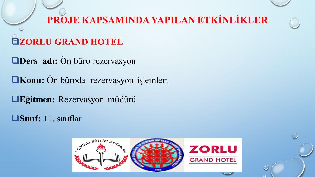  ZORLU GRAND HOTEL  Ders adı: Ön büro rezervasyon  Konu: Ön büroda rezervasyon işlemleri  Eğitmen: Rezervasyon müdürü  Sınıf: 11.
