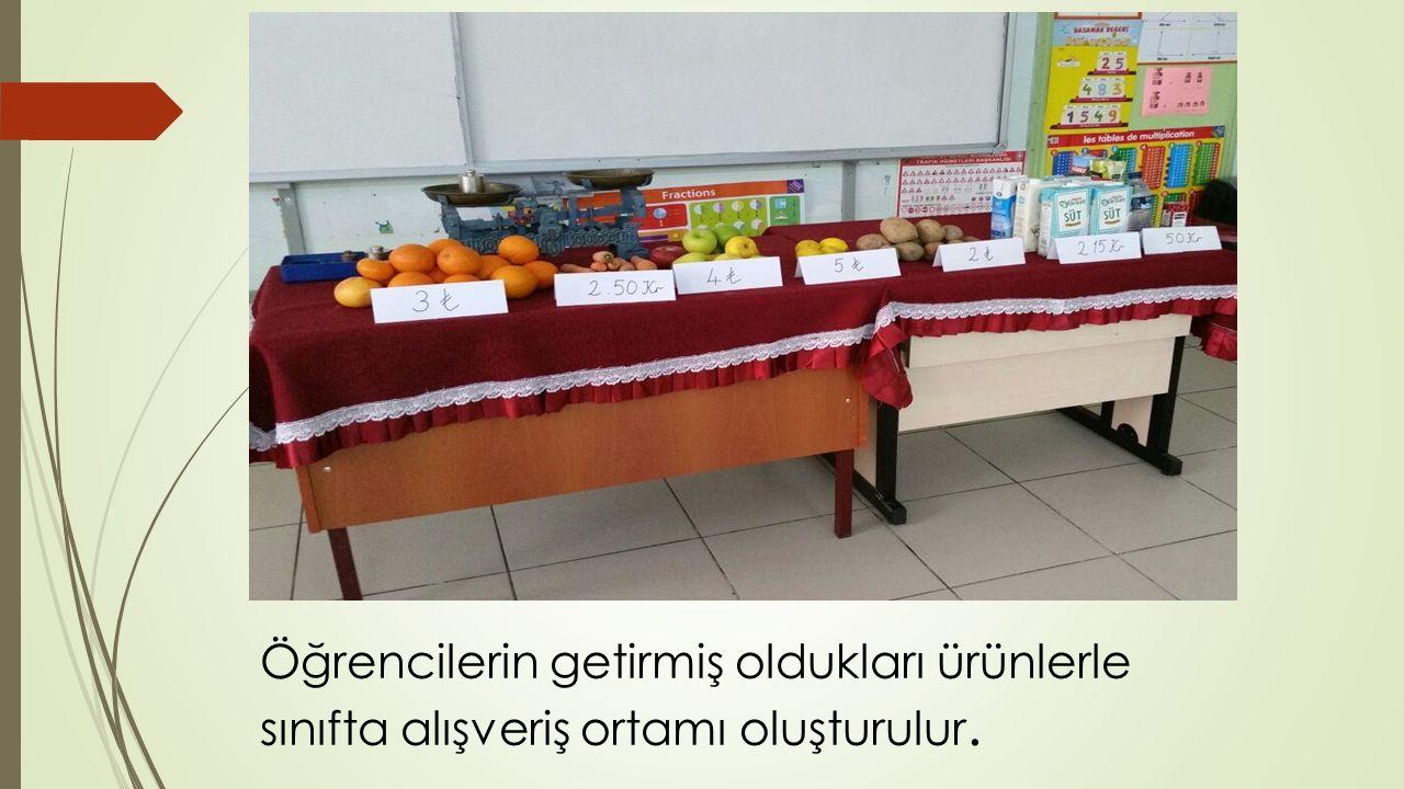 Öğrencilerin getirmiş oldukları ürünlerle sınıfta alışveriş ortamı oluşturulur.