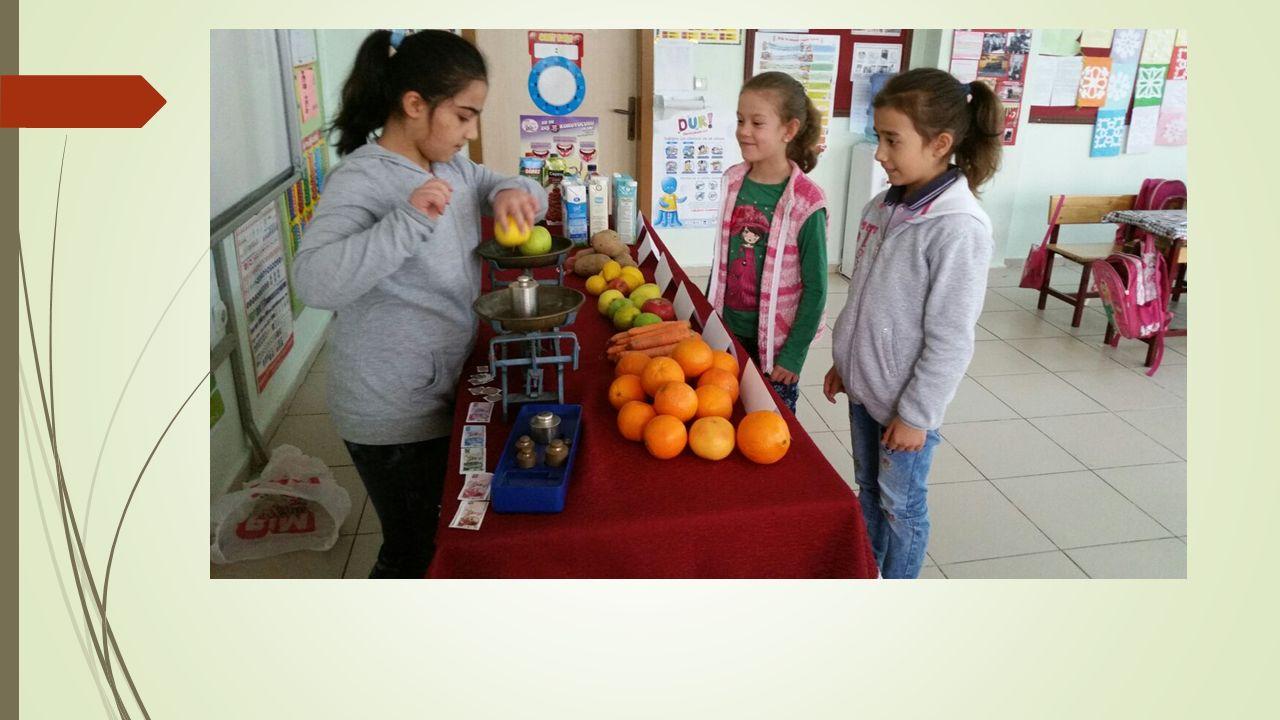 Bu sayede öğrenciler yaparak-yaşayarak paralarımızı ve ağırlık ölçülerini öğrenirler.