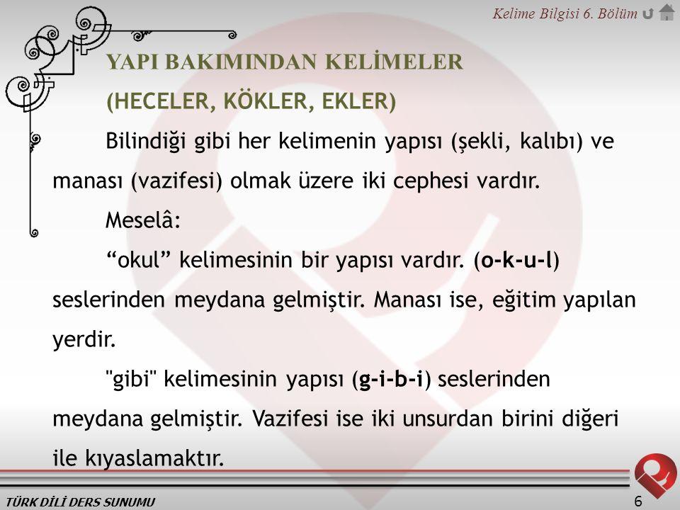 TÜRK DİLİ DERS SUNUMU Kelime Bilgisi 6. Bölüm 6 YAPI BAKIMINDAN KELİMELER (HECELER, KÖKLER, EKLER) Bilindiği gibi her kelimenin yapısı (şekli, kalıbı)
