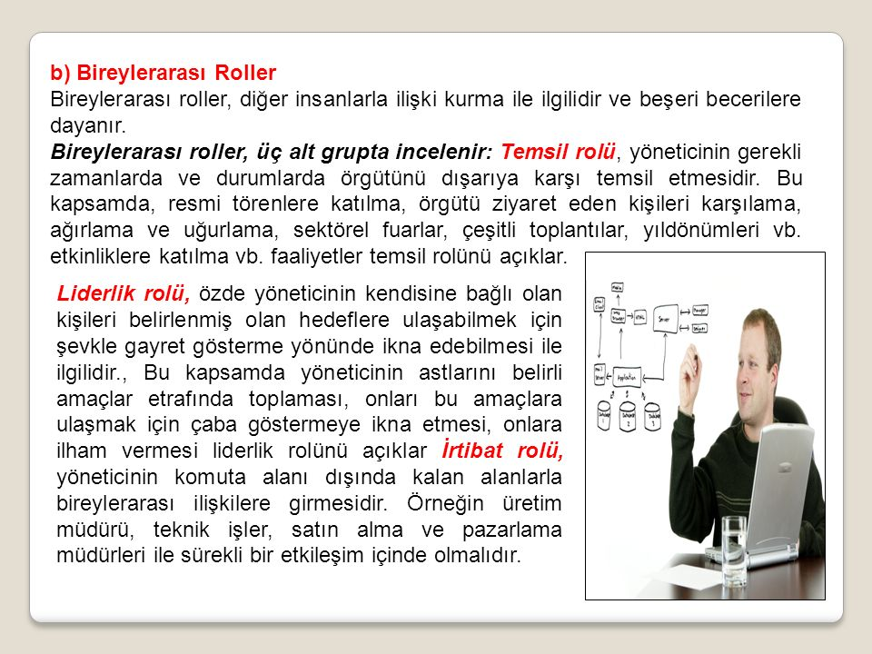 b) Bireylerarası Roller Bireylerarası roller, diğer insanlarla ilişki kurma ile ilgilidir ve beşeri becerilere dayanır.