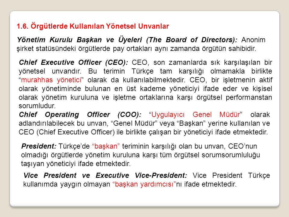 1.6. Örgütlerde Kullanılan Yönetsel Unvanlar Yönetim Kurulu Başkan ve Üyeleri (The Board of Directors): Anonim şirket statüsündeki örgütlerde pay orta