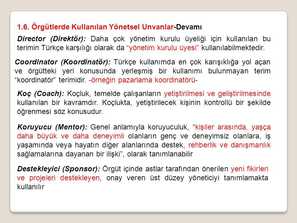 Director (Direktör): Daha çok yönetim kurulu üyeliği için kullanılan bu terimin Türkçe karşılığı olarak da yönetim kurulu üyesi kullanılabilmektedir.