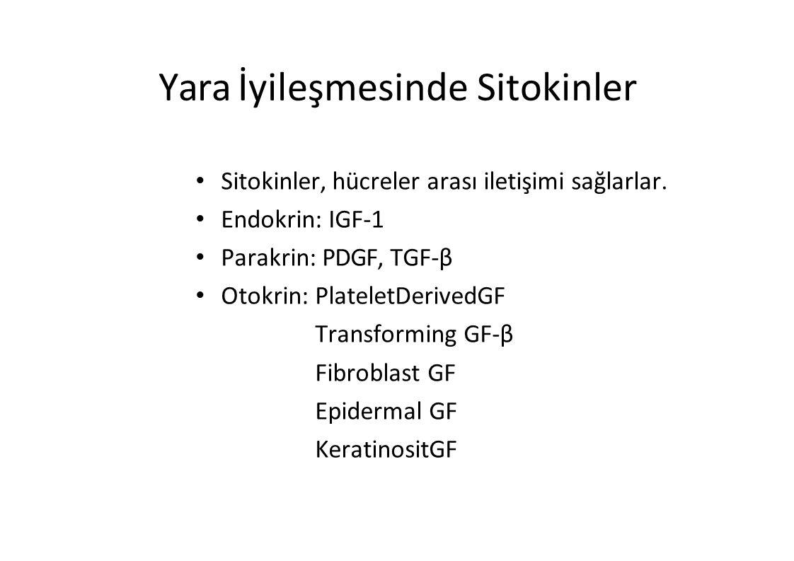 Yara İyileşmesinde Sitokinler Sitokinler, hücreler arası iletişimi sağlarlar. Endokrin: IGF-1 Parakrin: PDGF, TGF-β Otokrin: PlateletDerivedGF Transfo