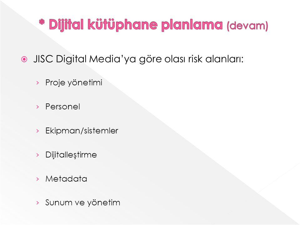 JISC Digital Mediaya göre olası risk alanları: Proje yönetimi Personel Ekipman/sistemler Dijitalleştirme Metadata Sunum ve yönetim