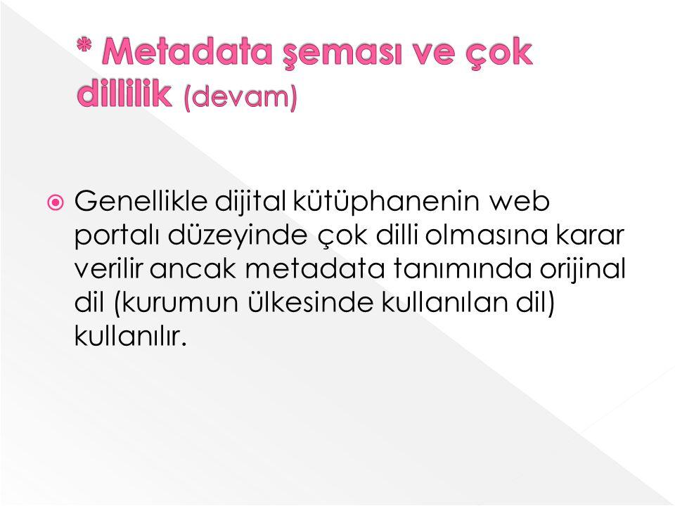 Genellikle dijital kütüphanenin web portalı düzeyinde çok dilli olmasına karar verilir ancak metadata tanımında orijinal dil (kurumun ülkesinde kullanılan dil) kullanılır.