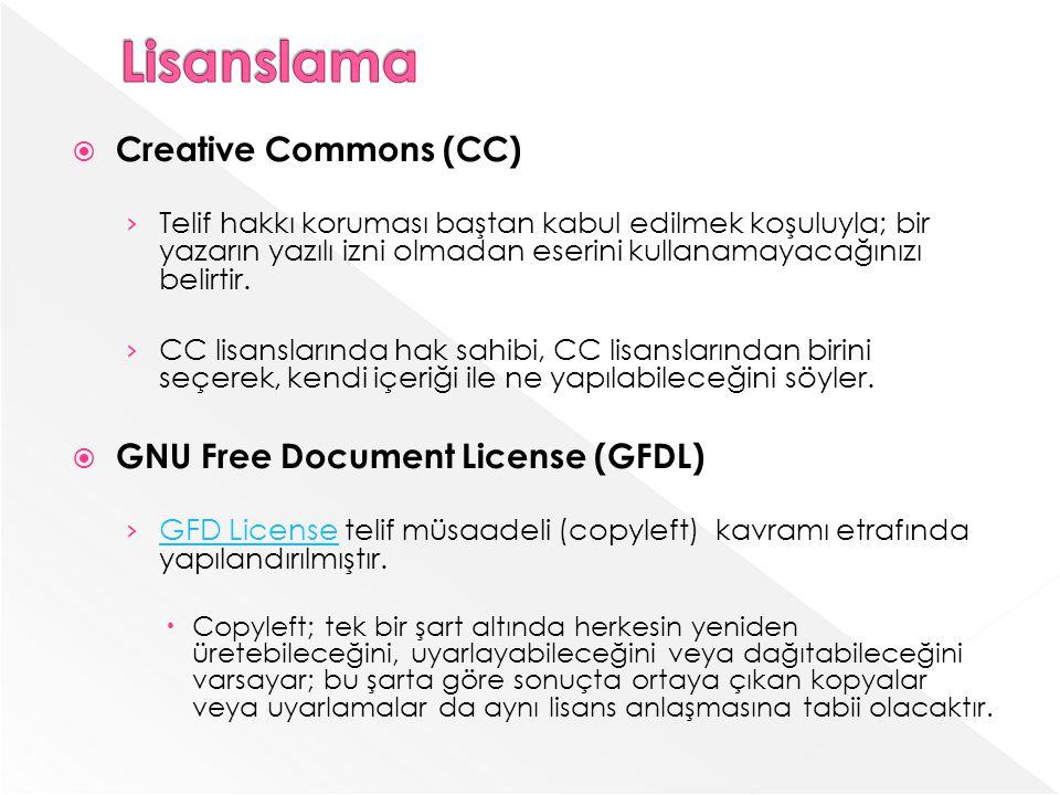 Creative Commons (CC) Telif hakkı koruması baştan kabul edilmek koşuluyla; bir yazarın yazılı izni olmadan eserini kullanamayacağınızı belirtir.