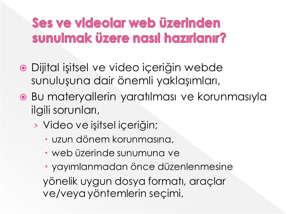 Dijital işitsel ve video içeriğin webde sunuluşuna dair önemli yaklaşımları, Bu materyallerin yaratılması ve korunmasıyla ilgili sorunları, Video ve işitsel içeriğin; uzun dönem korunmasına, web üzerinde sunumuna ve yayımlanmadan önce düzenlenmesine yönelik uygun dosya formatı, araçlar ve/veya yöntemlerin seçimi.