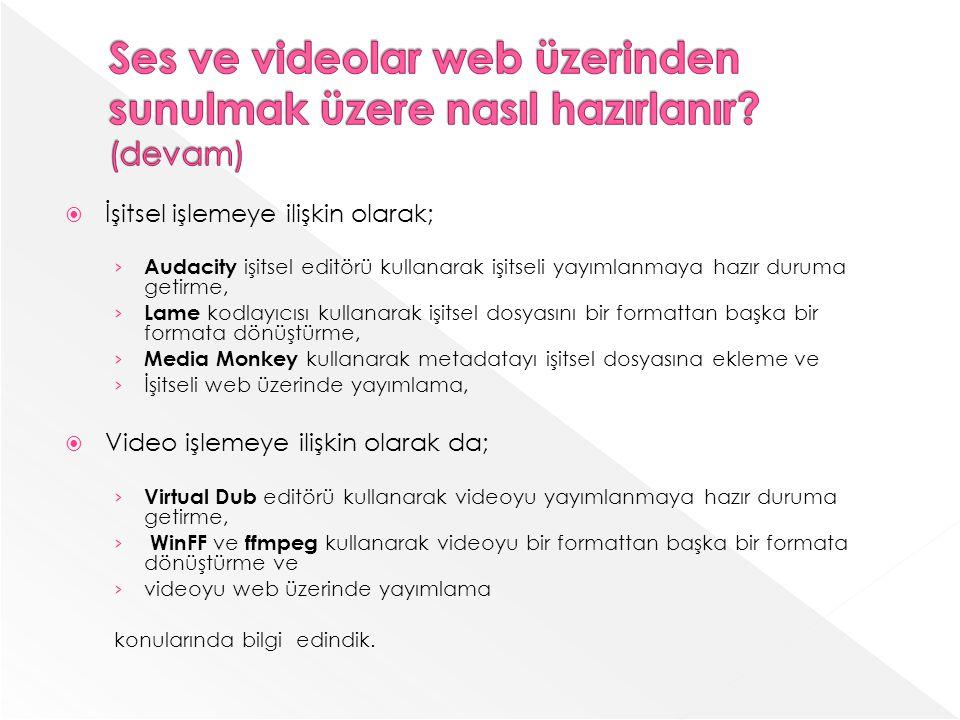 İşitsel işlemeye ilişkin olarak; Audacity işitsel editörü kullanarak işitseli yayımlanmaya hazır duruma getirme, Lame kodlayıcısı kullanarak işitsel dosyasını bir formattan başka bir formata dönüştürme, Media Monkey kullanarak metadatayı işitsel dosyasına ekleme ve İşitseli web üzerinde yayımlama, Video işlemeye ilişkin olarak da; Virtual Dub editörü kullanarak videoyu yayımlanmaya hazır duruma getirme, WinFF ve ffmpeg kullanarak videoyu bir formattan başka bir formata dönüştürme ve videoyu web üzerinde yayımlama konularında bilgi edindik.