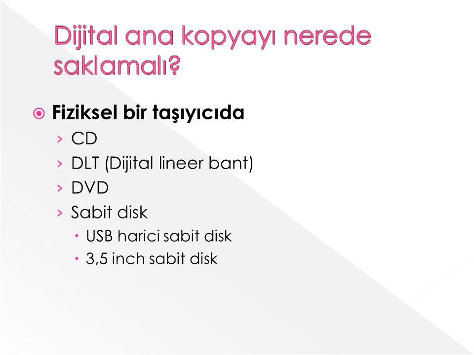 Fiziksel bir taşıyıcıda CD DLT (Dijital lineer bant) DVD Sabit disk USB harici sabit disk 3,5 inch sabit disk