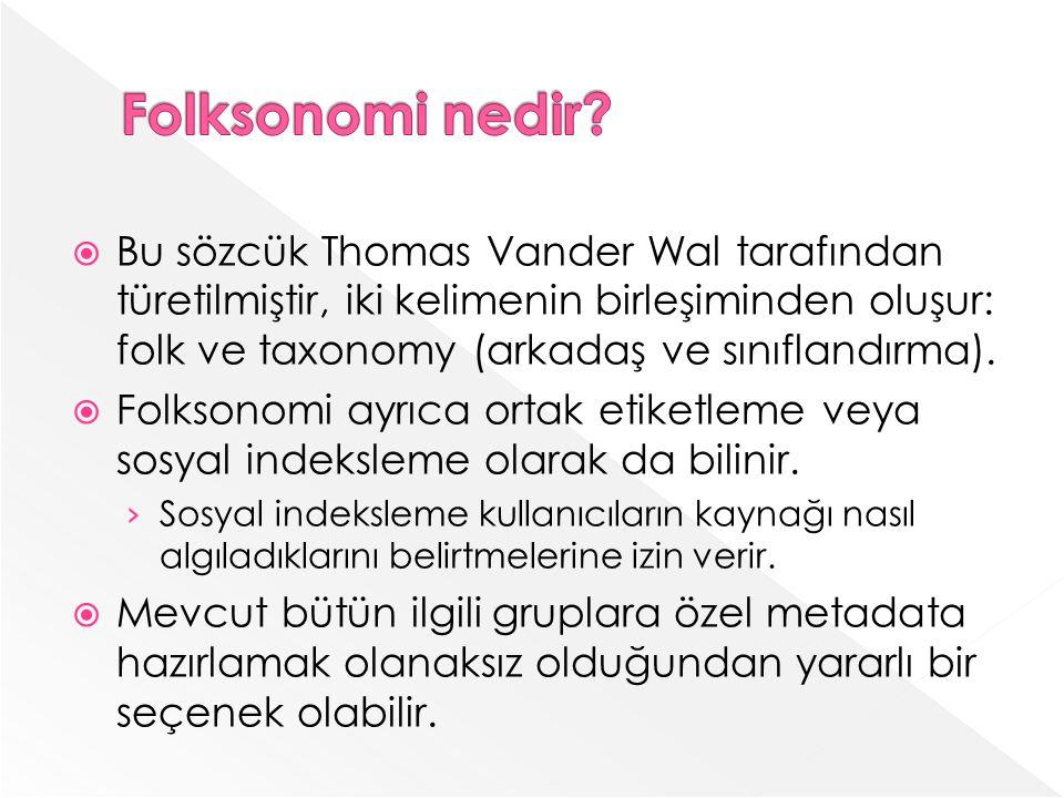 Bu sözcük Thomas Vander Wal tarafından türetilmiştir, iki kelimenin birleşiminden oluşur: folk ve taxonomy (arkadaş ve sınıflandırma).