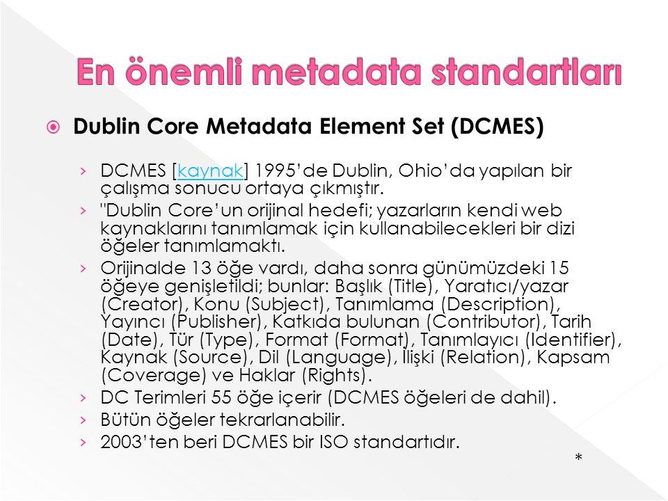 Dublin Core Metadata Element Set (DCMES) DCMES [kaynak] 1995de Dublin, Ohioda yapılan bir çalışma sonucu ortaya çıkmıştır.kaynak Dublin Coreun orijinal hedefi; yazarların kendi web kaynaklarını tanımlamak için kullanabilecekleri bir dizi öğeler tanımlamaktı.