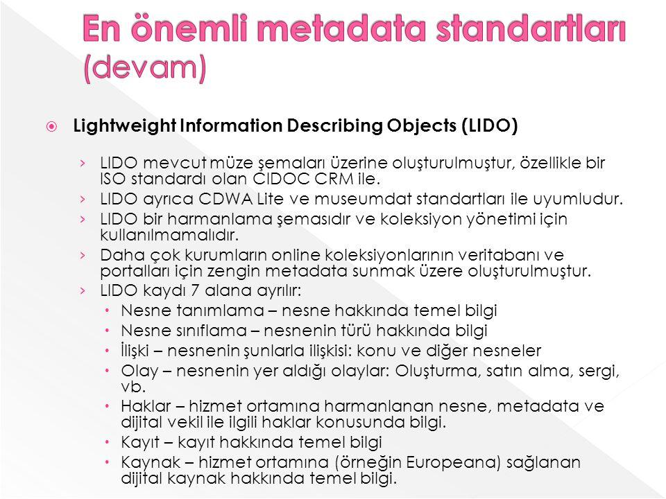 Lightweight Information Describing Objects (LIDO) LIDO mevcut müze şemaları üzerine oluşturulmuştur, özellikle bir ISO standardı olan CIDOC CRM ile.