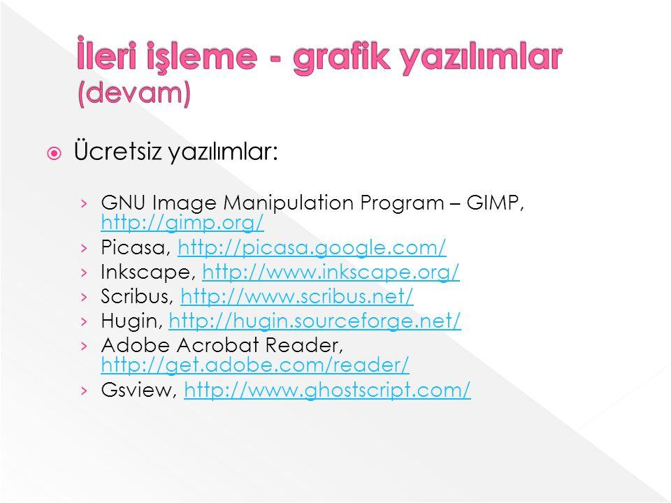 Ücretsiz yazılımlar: GNU Image Manipulation Program – GIMP, http://gimp.org/ http://gimp.org/ Picasa, http://picasa.google.com/http://picasa.google.com/ Inkscape, http://www.inkscape.org/http://www.inkscape.org/ Scribus, http://www.scribus.net/http://www.scribus.net/ Hugin, http://hugin.sourceforge.net/http://hugin.sourceforge.net/ Adobe Acrobat Reader, http://get.adobe.com/reader/ http://get.adobe.com/reader/ Gsview, http://www.ghostscript.com/http://www.ghostscript.com/