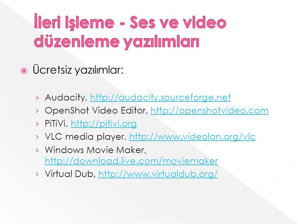 Ücretsiz yazılımlar: Audacity, http://audacity.sourceforge.nethttp://audacity.sourceforge.net OpenShot Video Editor, http://openshotvideo.comhttp://openshotvideo.com PiTiVi, http://pitivi.orghttp://pitivi.org VLC media player, http://www.videolan.org/vlchttp://www.videolan.org/vlc Windows Movie Maker, http://download.live.com/moviemaker http://download.live.com/moviemaker Virtual Dub, http://www.virtualdub.org/http://www.virtualdub.org/
