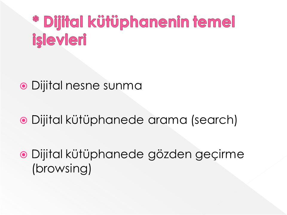 Dijital nesne sunma Dijital kütüphanede arama (search) Dijital kütüphanede gözden geçirme (browsing)