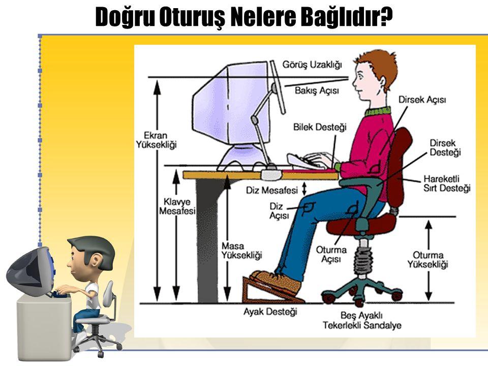 Ekranlı Araçlarla Çalışma OTURMA  Oturduğunuzda; koltuk arkalığı eğimini sırtınızın alt kısmını (belinizi) destekleyecek şekilde ayarlayın.