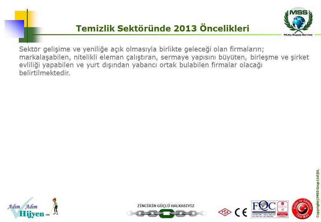 ZİNCİRİN GÜÇLÜ HALKASIYIZ Copyright©MSS Grup Ltd Şti. Temizlik Sektöründe 2013 Öncelikleri Sektör gelişime ve yeniliğe açık olmasıyla birlikte geleceğ