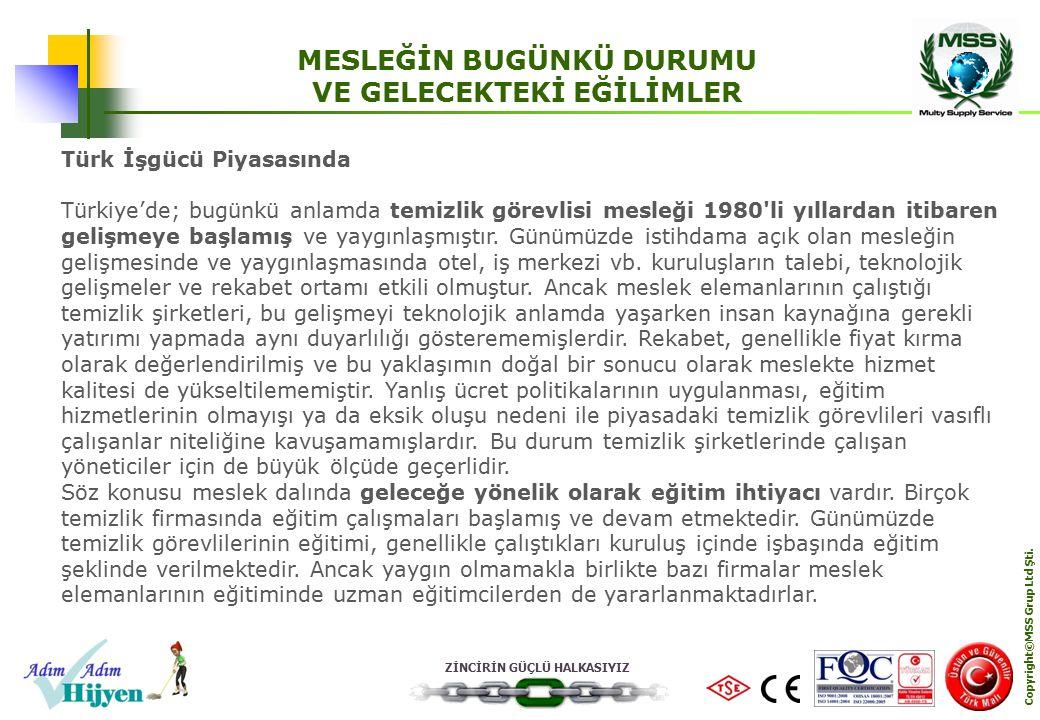 ZİNCİRİN GÜÇLÜ HALKASIYIZ Copyright©MSS Grup Ltd Şti. MESLEĞİN BUGÜNKÜ DURUMU VE GELECEKTEKİ EĞİLİMLER Türk İşgücü Piyasasında Türkiye'de; bugünkü anl