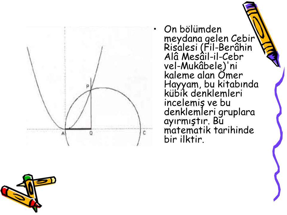 On bölümden meydana gelen Cebir Risalesi (Fil-Berâhin Alâ Mesâil-il-Cebr vel-Mukâbele)'ni kaleme alan Ömer Hayyam, bu kitabında kübik denklemleri ince
