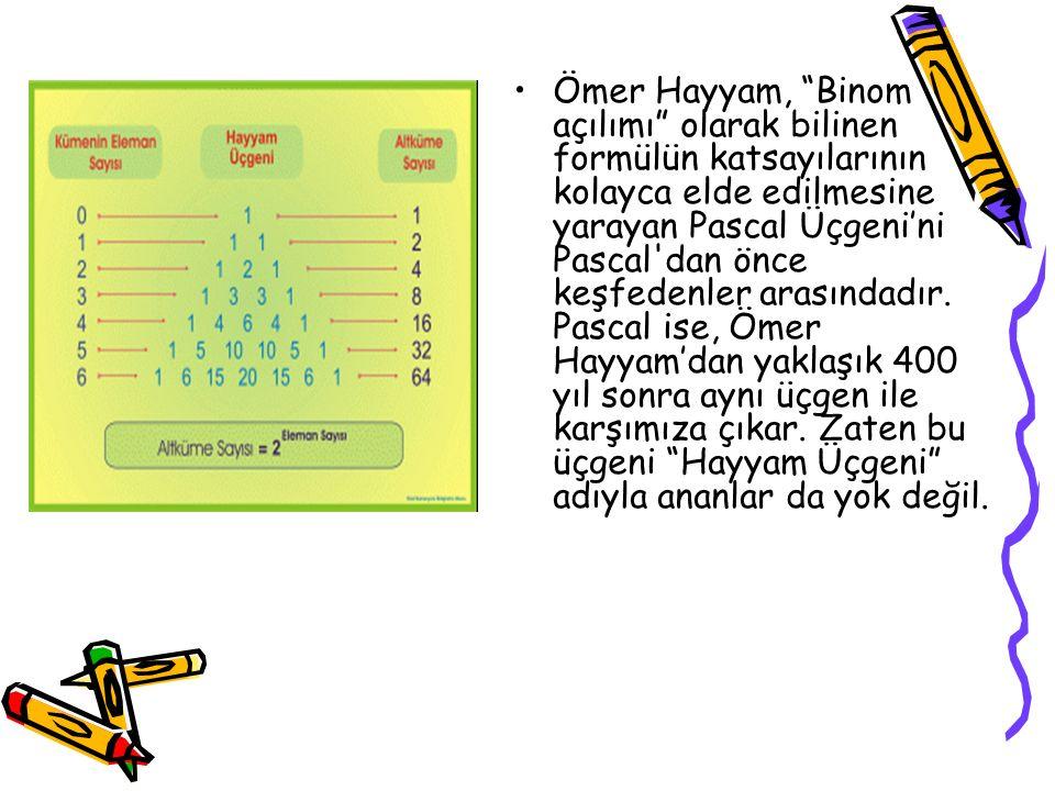 """Ömer Hayyam, """"Binom açılımı"""" olarak bilinen formülün katsayılarının kolayca elde edilmesine yarayan Pascal Üçgeni'ni Pascal'dan önce keşfedenler arası"""
