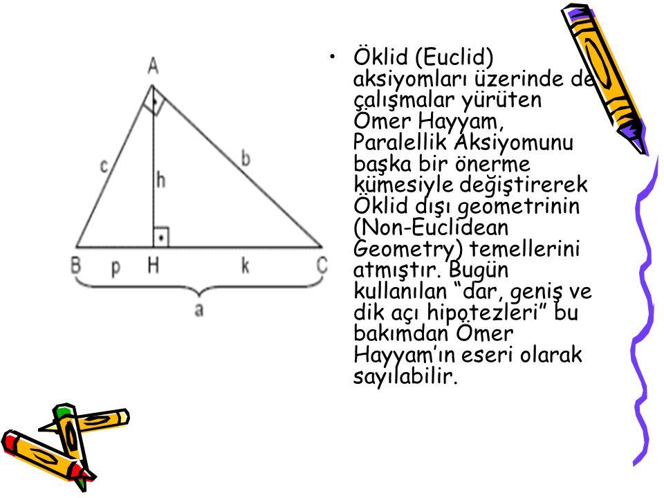 Öklid (Euclid) aksiyomları üzerinde de çalışmalar yürüten Ömer Hayyam, Paralellik Aksiyomunu başka bir önerme kümesiyle değiştirerek Öklid dışı geomet