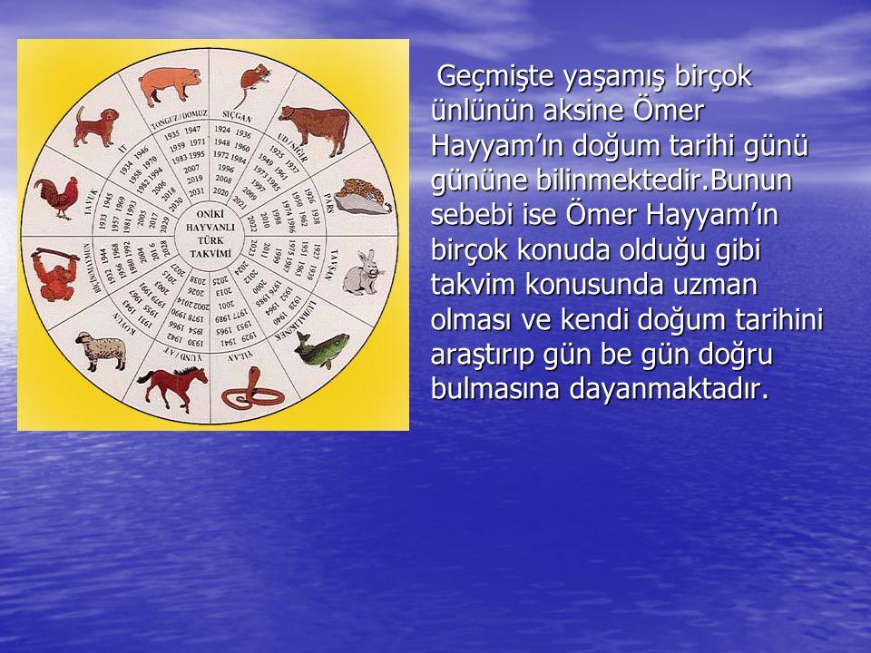 Geçmişte yaşamış birçok ünlünün aksine Ömer Hayyam'ın doğum tarihi günü gününe bilinmektedir.Bunun sebebi ise Ömer Hayyam'ın birçok konuda olduğu gibi takvim konusunda uzman olması ve kendi doğum tarihini araştırıp gün be gün doğru bulmasına dayanmaktadır.