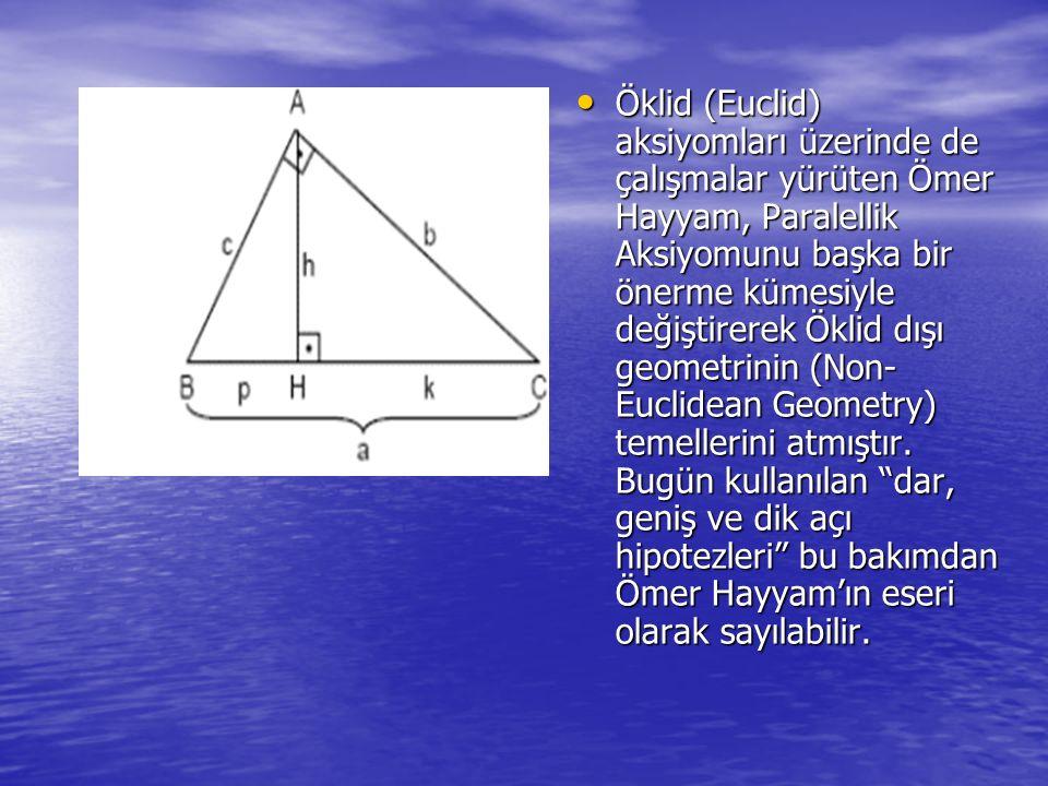 Öklid (Euclid) aksiyomları üzerinde de çalışmalar yürüten Ömer Hayyam, Paralellik Aksiyomunu başka bir önerme kümesiyle değiştirerek Öklid dışı geometrinin (Non- Euclidean Geometry) temellerini atmıştır.