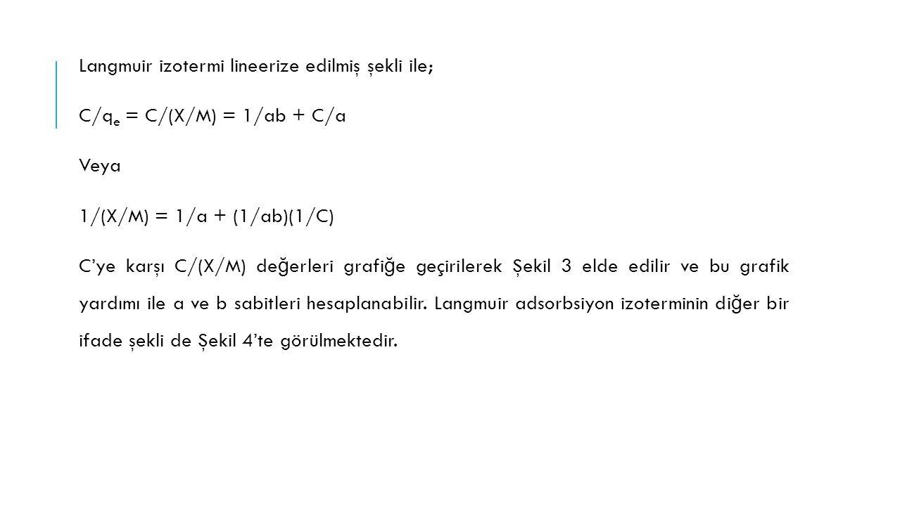 Langmuir izotermi lineerize edilmiş şekli ile; C/q e = C/(X/M) = 1/ab + C/a Veya 1/(X/M) = 1/a + (1/ab)(1/C) C'ye karşı C/(X/M) de ğ erleri grafi ğ e