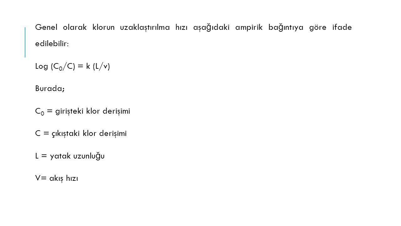 Genel olarak klorun uzaklaştırılma hızı aşa ğ ıdaki ampirik ba ğ ıntıya göre ifade edilebilir: Log (C 0 /C) = k (L/v) Burada; C 0 = girişteki klor der