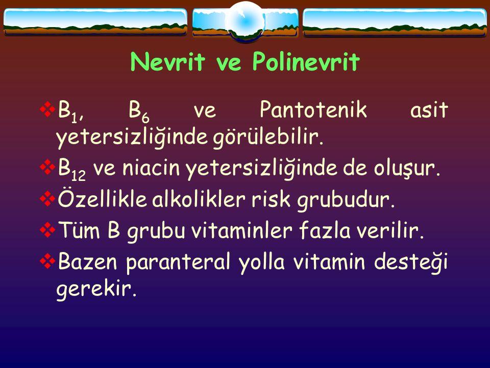 Nevrit ve Polinevrit  B 1, B 6 ve Pantotenik asit yetersizliğinde görülebilir.