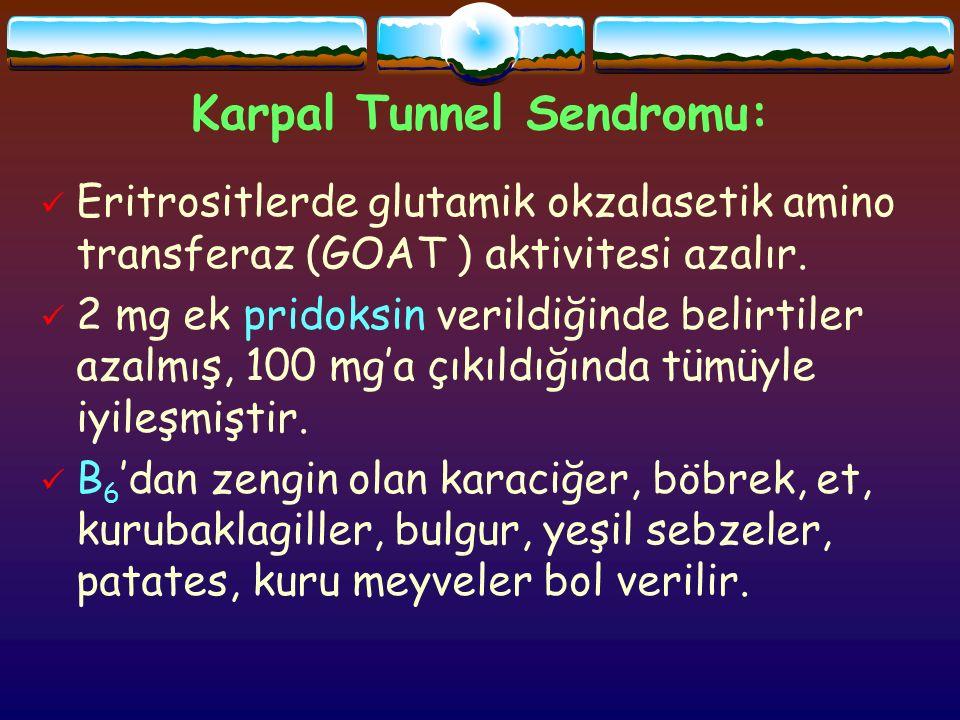 Karpal Tunnel Sendromu: Eritrositlerde glutamik okzalasetik amino transferaz (GOAT ) aktivitesi azalır.