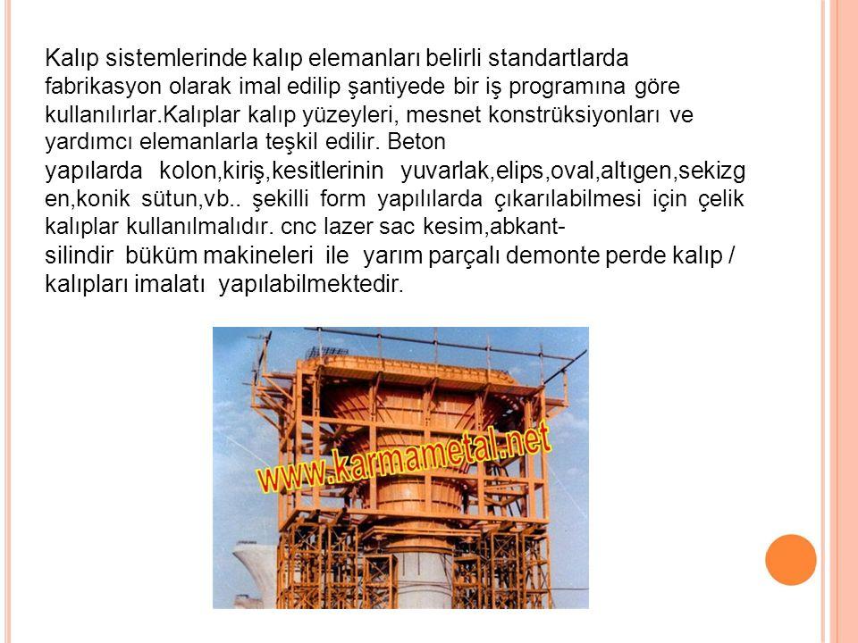 Kalıp sistemlerinde kalıp elemanları belirli standartlarda fabrikasyon olarak imal edilip şantiyede bir iş programına göre kullanılırlar.Kalıplar kalı